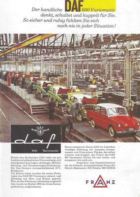 Zwitserse advertentie voor de Daf 600. De laatste Daf personenauto werd in 1975 gebouwd en de personenwagendivisie werd overgenomen door Volvo.
