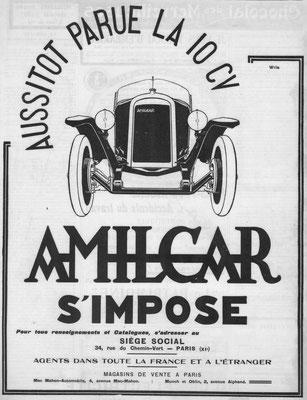 Een advertentie van Amilcar uit 1924.