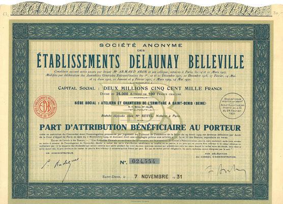 Een aandeel S.A. des Établissements Delaunay Belleville uit 1931.