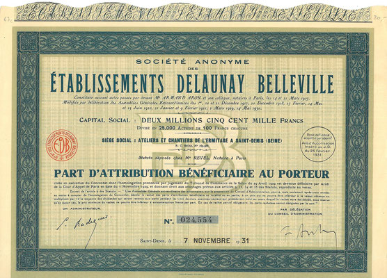 Aandeel S.A. des Établissements Delaunay Belleville uit 1931.