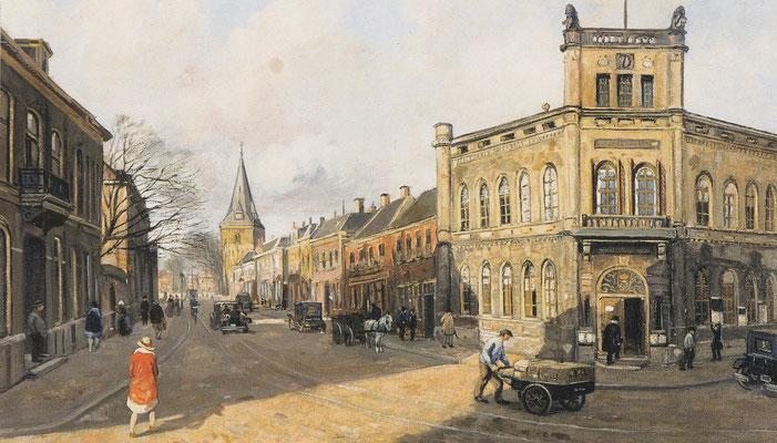Enschede, gezicht op het oude stadhuis, 1930, kunstwerk van Gerard C. Krol.