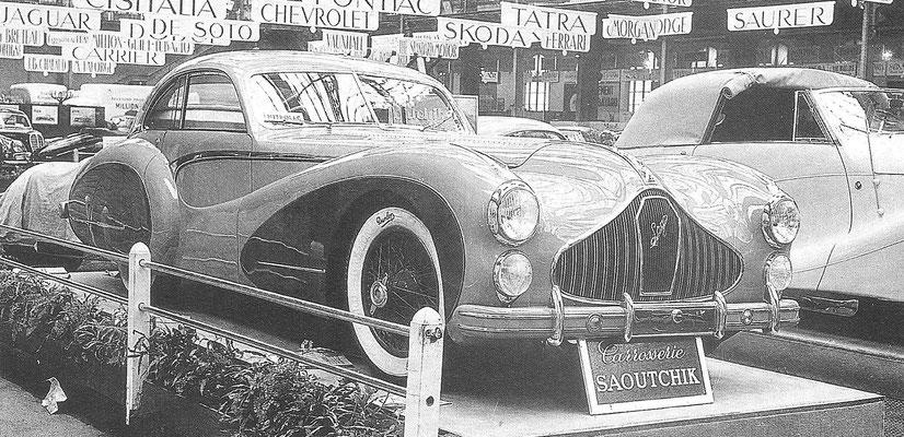Een Talbot Lago met een carrosserie van Saoutchik op de Autosalon van Parijs in 1948.