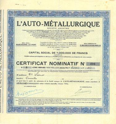 Certificaat voor 2 aandelen L'Auto Métallurgique uit 1924. Kapitaal 7.000.000 Francs.