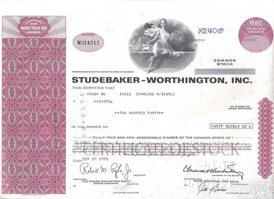 Certificaat voor 240 aandelen Studebaker-Worthington, Inc. uit 1975.