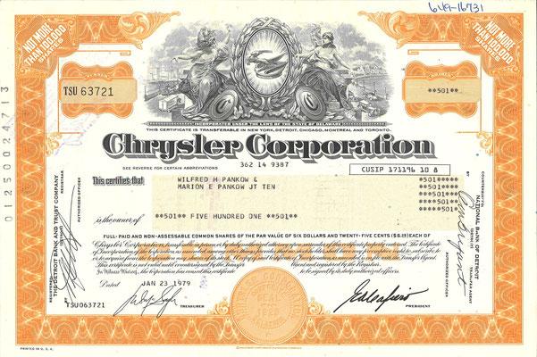 Certificaat voor 501 aandelen Chrysler Corporation uit 1979.