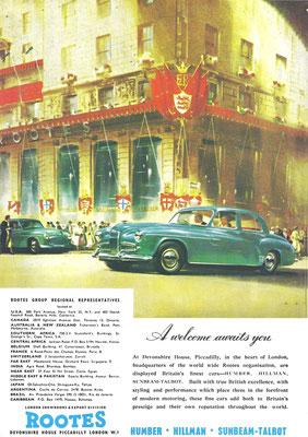 Een advertentie van Rootes voor Humber, Hillman en Sunbeam-Talbot.