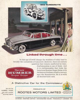Reclame Humber uit 1959.