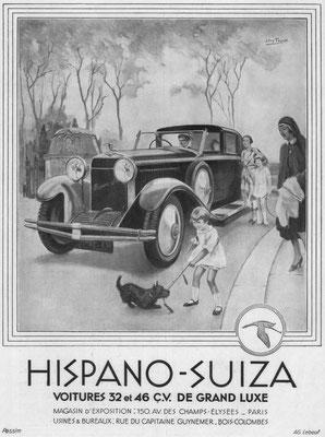 Franse advertentie van Hispano-Suiza uit 1931.