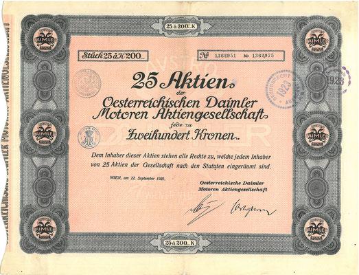 25 Aandelen Oesterreichischen Daimler Motoren Aktiengesellschaft (Austro Daimler) uit 1921.