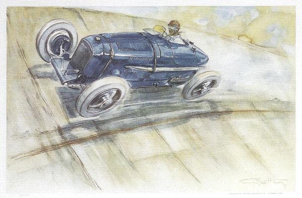 Een Amilcar op Autodrome Montlhéry bij Parijs in 1928, de kunstenaar is Geo Hamm.
