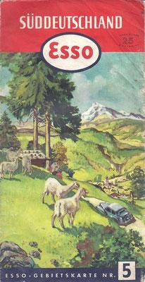 Esso Gebietskarte, Nr.5 Süddeutschland, 1952.
