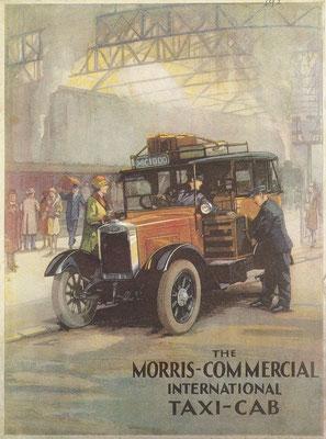 Voorzijde van een folder uit 1929 / 1930 met de nieuwe London taxi's van The Morris-Commercial International.