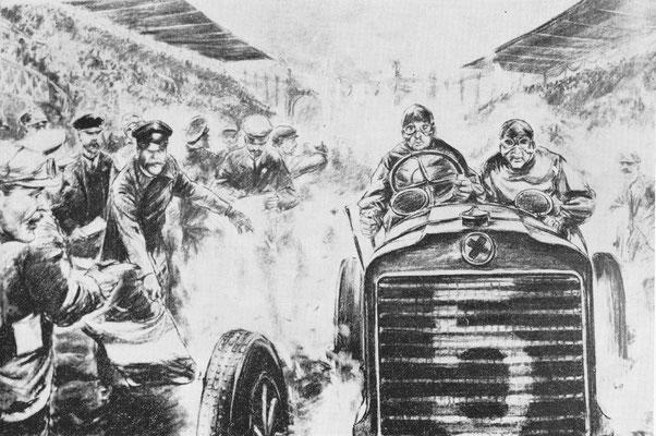 De Fransman Théry met een zware Richard Brasier gaat hier van start in de Gordon Bennett wedstrijd van 1904 op een circuit in de Taunus nabij Frankfurt. Hij zal als winnaar eindigen.