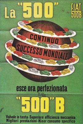 Een poster van Fiat uit 1948, ontworpen door Puppo.