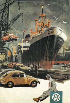 Reclame van Volkswagen, het verschepen van auto's.