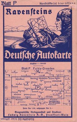 Ravensteins Deutsche Autokarte, Blatt P Fulda-Dresden, 1930.