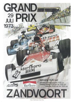 Poster voor de Grand Prix van Zandvoort in 1973. De eerste Grand Prix op het gerenoveerde circuit.