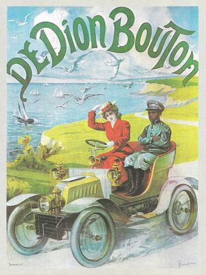 Affiche van De Dion-Bouton uit ongeveer 1902, ontworpen door H. Thiriet.