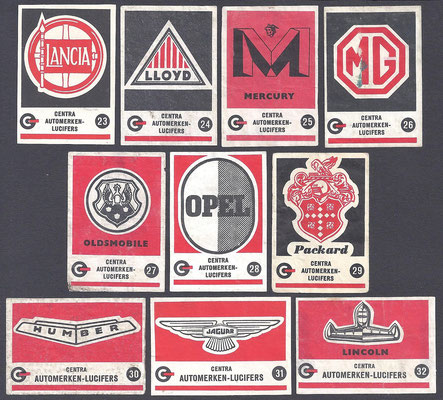 Centra lucifers, automerken, 1957, 23-32.