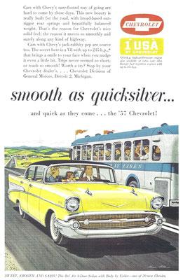 Een advertentie voor Chevrolet uit 1957.