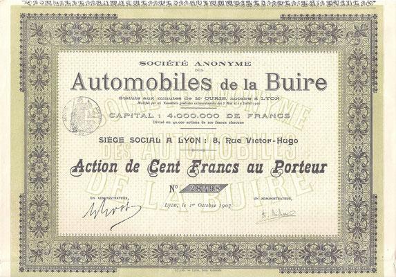 Een aandeel S.A. Automobiles de la Buire uit 1907 (Capital 4.000.000 de Francs).