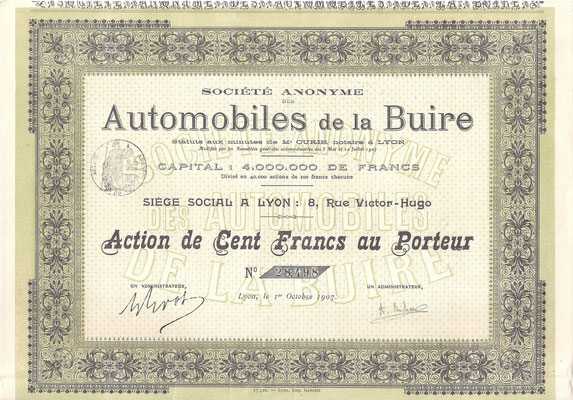 Aandeel S.A. Automobiles de la Buire uit 1907 (Capital 4.000.000 de Francs).