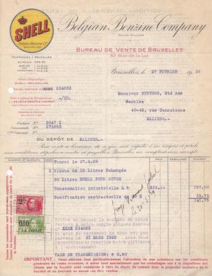 Rekening Shell België uit 1929.