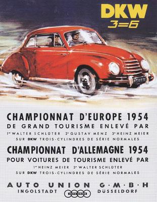 Auto Union won in 1954 met de nieuwe DKW 3=6 het Duitse en Europese rallykampioenschap.
