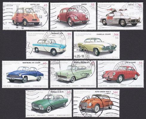 Postzegels Duitsland uit 2002 en 2003.