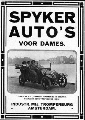 Een advertentie voor Spyker uit 1913.