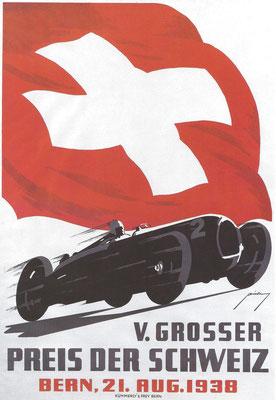 Affiche voor de Grand Prix van Zwitserland in 1938, een ontwerp van Armin Bieber.