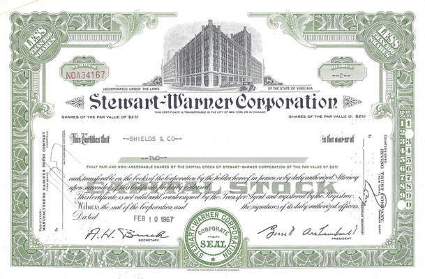 2 Aandelen Stewart-Warner Corporation uit 1967.