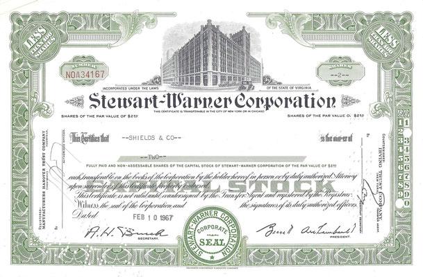 Certificaat voor 2 aandelen Stewart-Warner Corporation uit 1967.