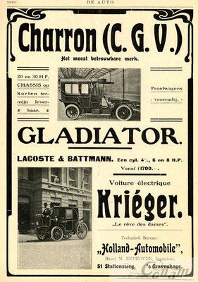 Nederlandse advertentie voor Krieger uit 1905.