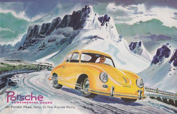 Porsche Continental Coupe op de Pordoi Pass tijdens de Alpine Rally (1956).