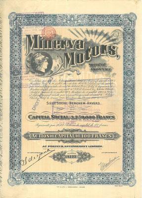 Aandeel Minerva Motors S.A. uit 1910 met de handtekening van Sylvian de Jong.