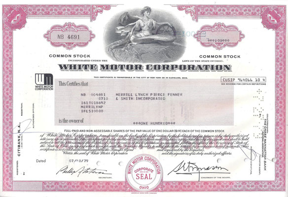 Certificaat voor 100 aandelen White Motor Corporation uit 1979.