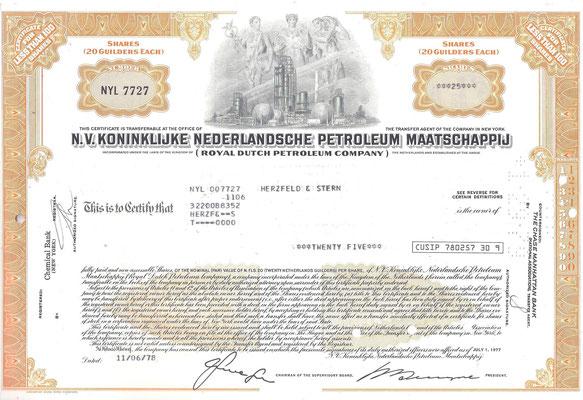 Certificaat voor 25 aandelen N.V. Koninklijke Nederlandsche Petroleum Maatschappij uit 1978.
