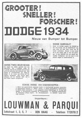 Een Nederlandse advertentie voor Dodge uit 1934.