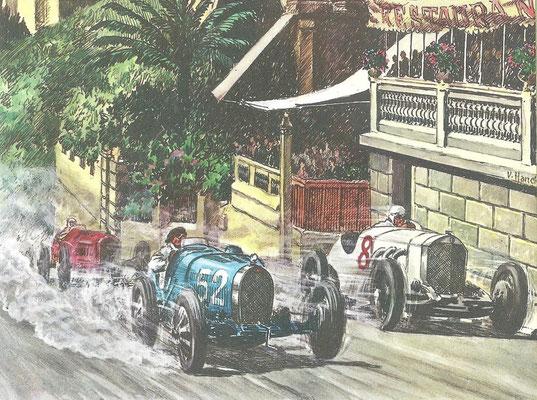 De eerste Grand Prix van Monaco in 1929. Williams won met een Bugatti Type 35  en Rudolf Caracciola werd derde met de grote Mercedes-Benz.