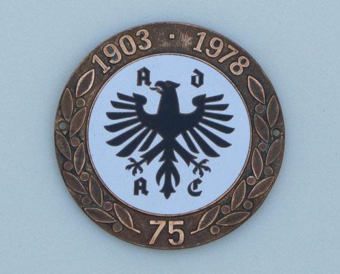 Geëmailleerd embleem ADAC 75 jaar, 1903-1978.