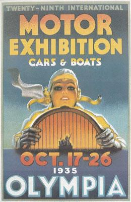Reclame voor de auto (en boten) tentoonstelling in 1935 in Earls Court Londen.