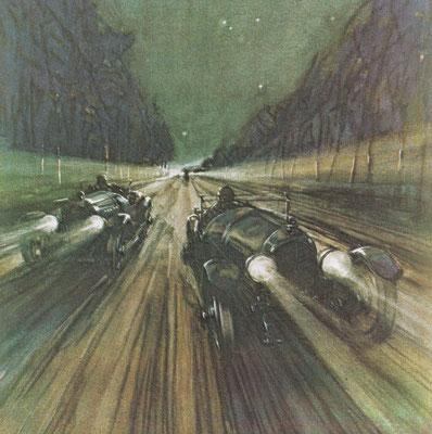 In 1924 behaalde Bentley de eerste van de vijf overwinningen in de 24 uur van Le Mans. We zien ze hier op de Mulsanne Straight, een recht stuk van bijna 6 kilometer.