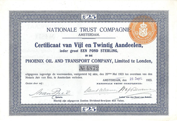 25 Aandelen Phoenix Oil and Transport Company, Ltd. uit 1923.