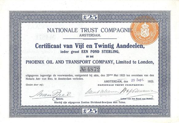 Certificaat van 25 aandelen Phoenix Oil and Transport Company, Ltd. uit 1923.