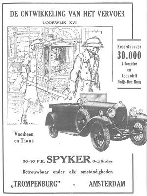 Nederlandse advertentie voor de Spyker 6-cilinder.