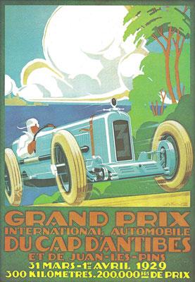 Affiche voor een Grand Prix in 1929, een ontwerp van A. Kow.