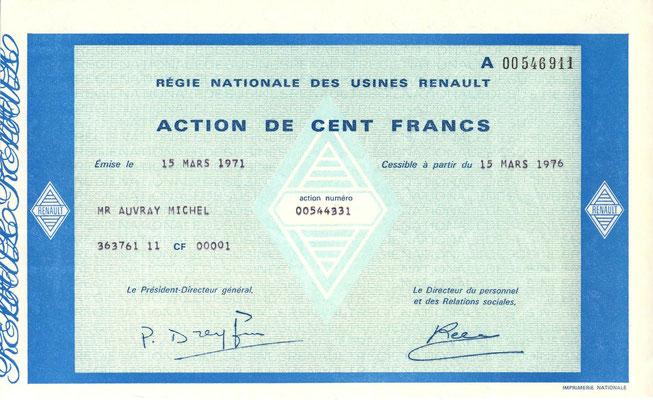 Aandeel Régie Nationale des Usines Renault uit 1971.