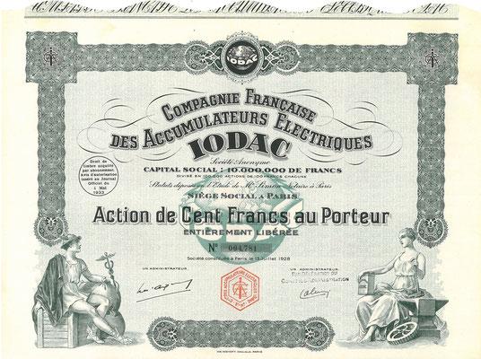 Aandeel Compagnie Francaise des Accumulateurs Electriques Iodac uit 1928.