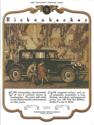 Advertentie Rickenbacker uit The Saturday Evening Post.